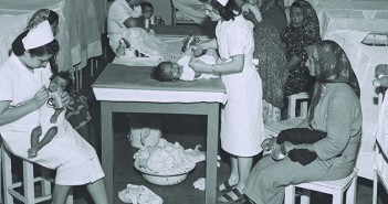 """THE CAMP'S NURSERY, WHERE TEN NURSES AND ONE      DOCTOR TAKE CARE OF CHILDREN UP TO 4-YRS. OLD. """"MAGIC       CARPET,"""" ROSH HA'AYIN."""