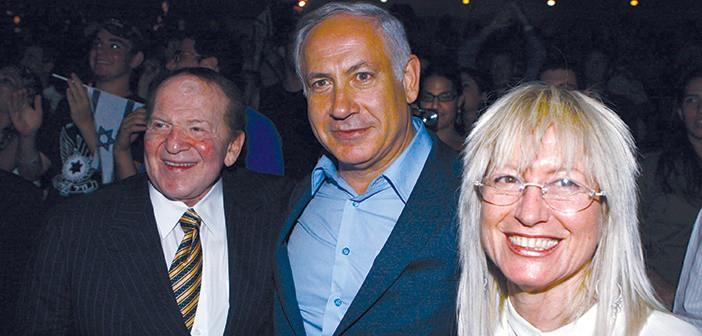 שלדון אדלסוןו ואשתו מרים אדלסון עם בנימין נתניהו באירוע תגלית ב ירושלים