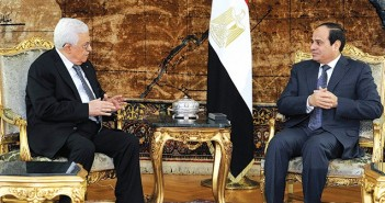 CAIRO, EGYPT - JANUARY 14: Palestinian President Mahmoud Abbas (L) meets with Egyptian President Abdel Fattah el-Sisi (R) in Cairo, Egypt on January 14, 2015. (Photo by Pool/Egyptian Presidency/Anadolu Agency/Getty Images)