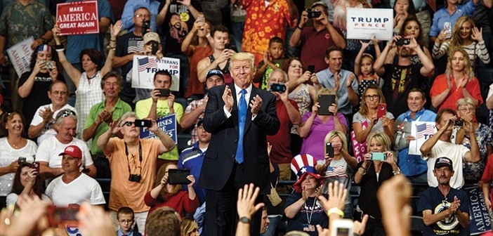 YOUNGSTOWN, OH - JULY 25: U.S. President Donald Trump acknowledges the crowd after a rally at the Covelli Centre on July 25, 2017 in Youngstown, Ohio. The rally coincides with the Senates vote on GOP legislation to repeal and replace the Affordable Care Act.  (Photo by Justin Merriman/Getty Images)