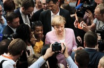 BERLIN, GERMANY - JULY 04:  German Chancellor Angela Merkel, who is also Chairwoman of the German Christian Democrats (CDU) political party, leaves after a speech the CDU headquarters during an open-house day on July 4, 2015 in Berlin, Germany. The CDU is currently celebrating the 70th anniversary since its founding just after World War II.  (Photo by Carsten Koall/Getty Images)