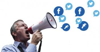 איש עם מגאפון עם טוויטרים ופייסבוקים