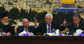 "RAMALLAH, WEST BANK - JANUARY 14: Palestinian President Mahmoud Abbas (2nd R) makes a speech as he attends the 28th session of the Palestinian Central Council, based on the Palestinian Liberation Organization (PLO) which is being held under the title of ""Jerusalem, the eternal capital of the State of Palestine"" in Ramallah, West Bank on January 14, 2018. 90 out of 110 noble members of the Palestinian Central Council and around 350 Palestinian officials have attended to the meeting. (Photo by Issam Rimawi/Anadolu Agency/Getty Images)"